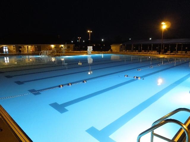 The beautiful, 10-lane, Pickerington Community Pool at night.