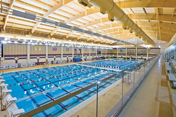 Conroe ISD Natatorium pool from stands
