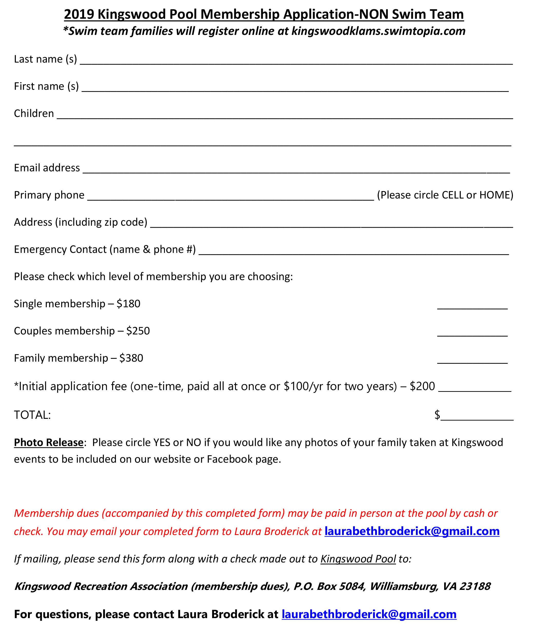NON-SWIM TEAM Membership Application - Kingswood Klams